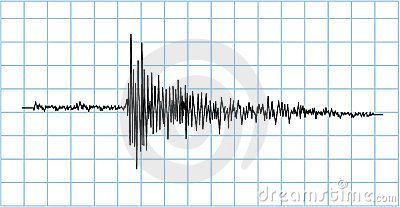 Earthquake wave symbol in blue grid