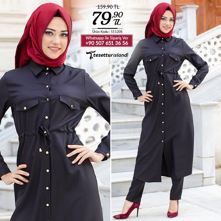 Neva Style - Düğmeli Siyah Tunik #tesettur #tesetturabiye #tesetturgiyim #tesetturelbise #tesetturabiyeelbise #kapalıgiyim #kapalıabiyemodelleri #şıktesetturabiyeelbise #kışlıkgiyim #tunik #tesetturtunik