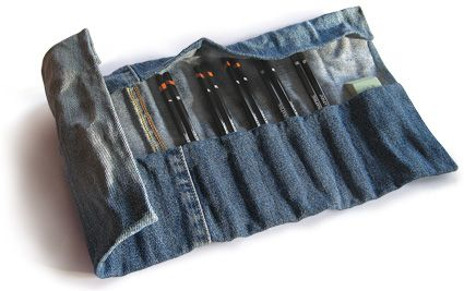 recycled denim pencil / paintbrush / tool roll - like this as a paintbrush idea. If you used regular fabric it would look pretty stained soon, but denim would actually improve with use I think!