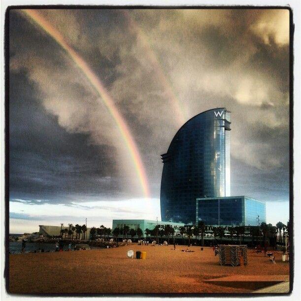 #Rainbow over #Barcelona beach