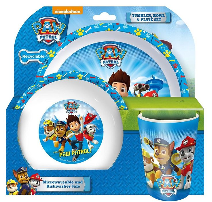 Perfect Xmas Gift Fun Mealtime for Paw Patrol Lover- Tumbler Bowl Plate Blue Set #Spearmark