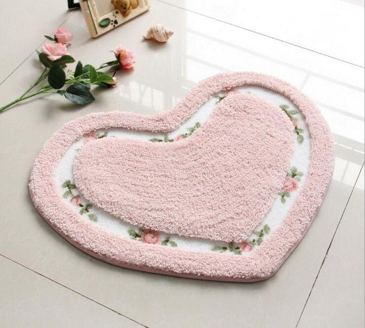 heart shaped bath rug