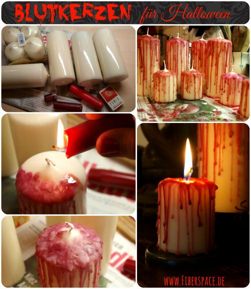 DIY-Anleitung Blutkerzen für #Halloween / Blood dripped Candles Tutorial