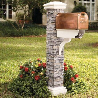 #CurbAppealContest.  Cast~Stone Mailbox Post and Copper Mailbox