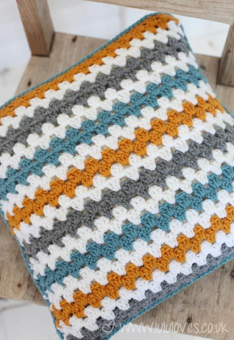 Crochet Granny Stripe Cushion - Lululoves