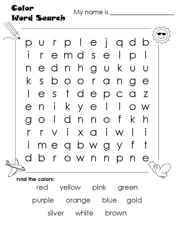 black cat worksheets for kids color word search color vocab blue red - Kids Printable Worksheets