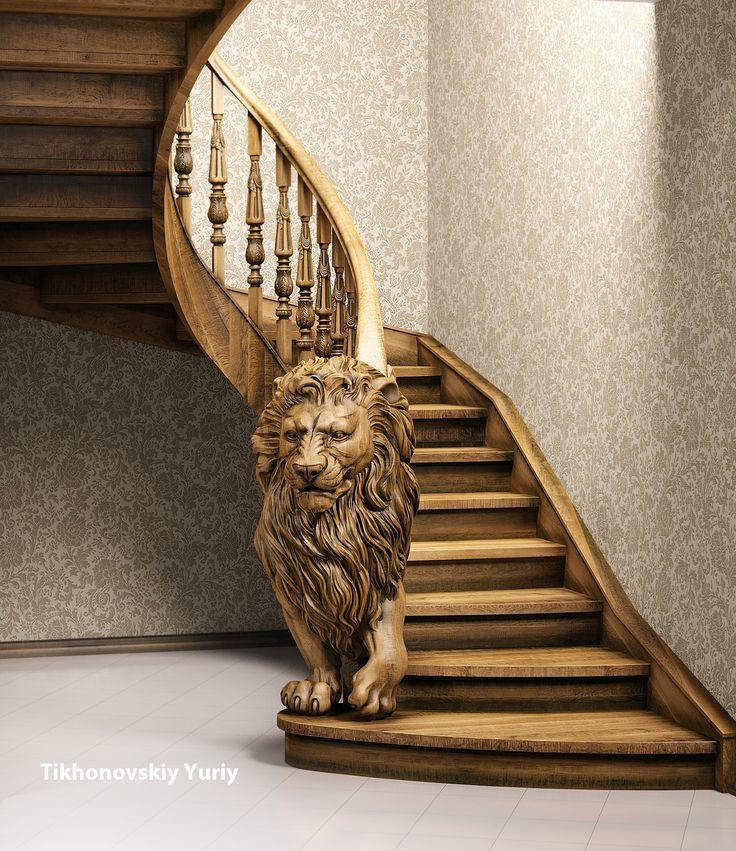 Модель деревянной лестницы. Модель для изготовление на станке с ЧПУ