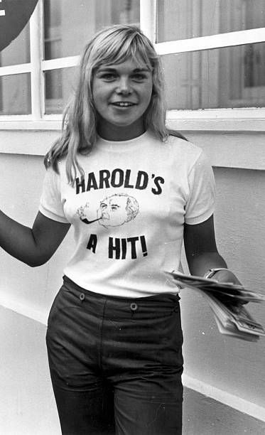 20yearold Yvette MorganGriffiths who chased prime minister Harold Wilson for 100 yards along the promenade at Brighton wearing a tshirt which...