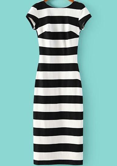 Black White Striped Short Sleeve Backless Dress, 100% Quality Guarantee