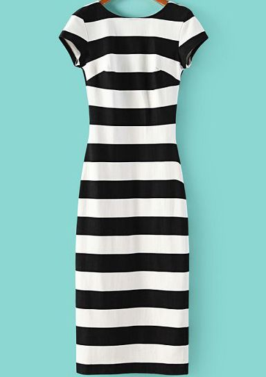 Black White Striped Short Sleeve Backless Dress, 100% Quality Guarantee