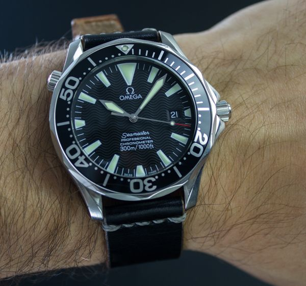 omega seamaster on aftermarket leather strap watches
