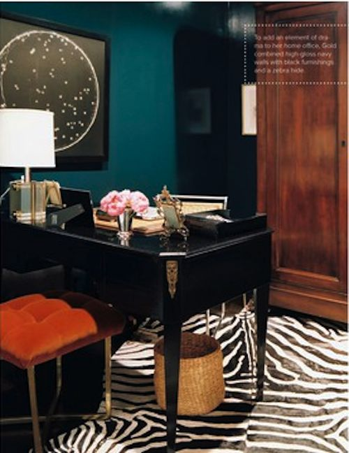 dark hued. teal, black, orange and brown.Decor, Wall Colors, Colors Combos, Teal Wall, Offices Spaces, Zebras Rugs, Desks, Black, Home Offices