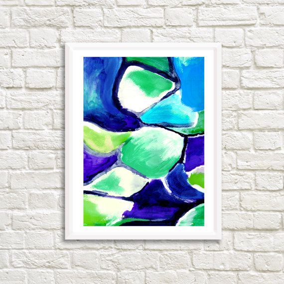 Original Blue and Green Acrylic Abstract 25 by LittleLotusFlowers
