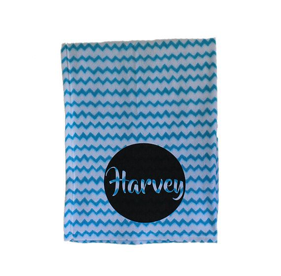 Personalised Baby Blanket Chevron Pattern Bright by TheUniqueCo