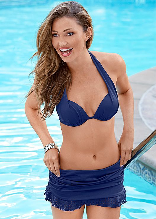 Look nautical in this all navy look! Venus Marilyn push up bra top with Venus laser cut skirted bottom.