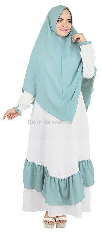 Baju muslim wanita RND 19-161 cotton putih kombinasi L-XL....