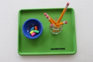 Putting erasers on the end of pencils (can also be done with straws and erasers)