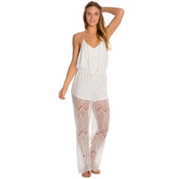 MINKPINK White Lace Romper MINKPINK Meet Me In St Louis Lace Jumpsuit. Open back detail. 100% Nylon. White. Size: S MINKPINK Pants Jumpsuits & Rompers