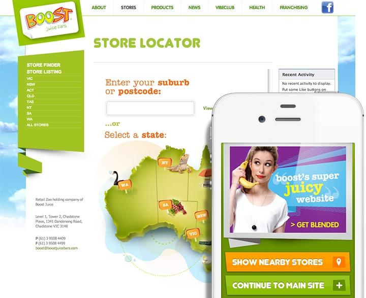 Store locator, Facebook app and mobile optimised site