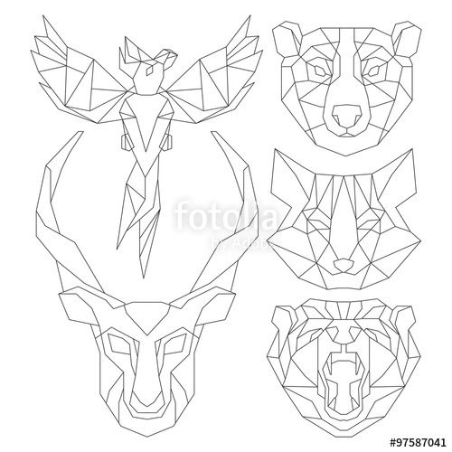 "Download the royalty-free vector ""Front view of animal head triangular icon , geometric trendy line design. Vector illustration ready for tattoo or coloring book.Antelope, fox, bear, parrot."" designed by yazzik at the lowest price on Fotolia.com. Browse our cheap image bank online to find the perfect stock vector for your marketing projects!"