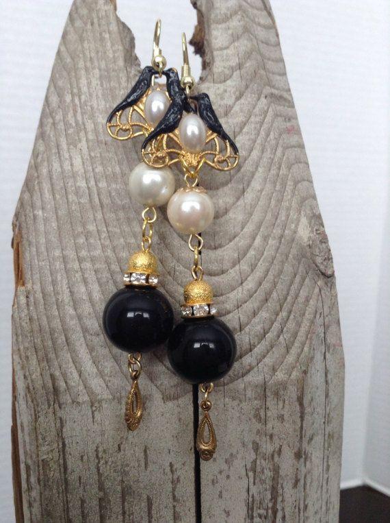 Inspirational Black and white bird earrings