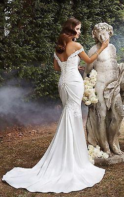 новый белый / слоновой кости свадебное платье от плеча Атлас Русалка свадебное платье нестандартного размера