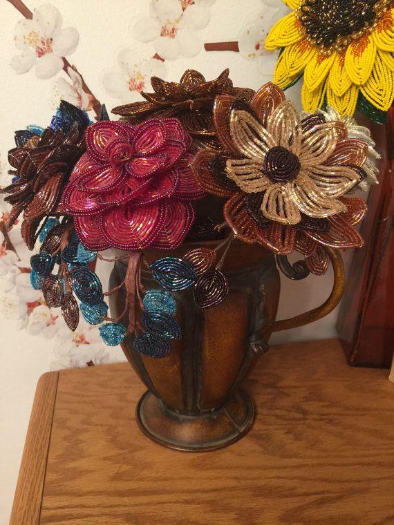 Francese di perline fiori con vaso di ANGELSBEADSFLOWERS su Etsy