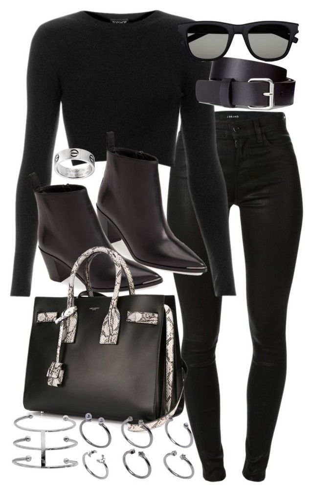 """""""Untitled #18668"""" by florencia95 ❤ liked on Polyvore featuring J Brand, Topshop, H&M, Acne Studios, Yves Saint Laurent and ASOS"""