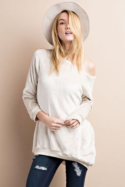 Easel comfy Oversized Fleece Pullover Tunic Top | Tops, Products ...