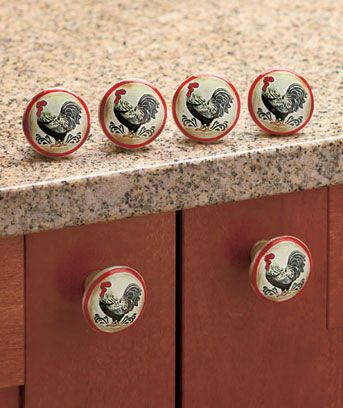 Set Of 6 Rooster Drawer Pulls Or Can Be Used As Rooster Cabinet Knobs.  Feature Country Rooster Decor, Perfect For Kitchen Drawers And As Cabinet  Door ...