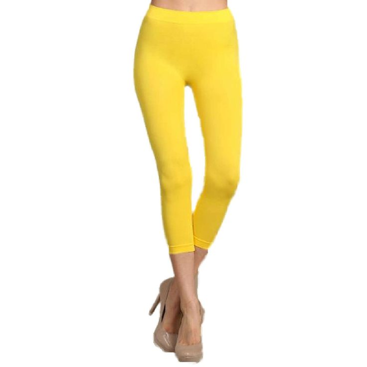 Capri Leggings, Neon Yellow