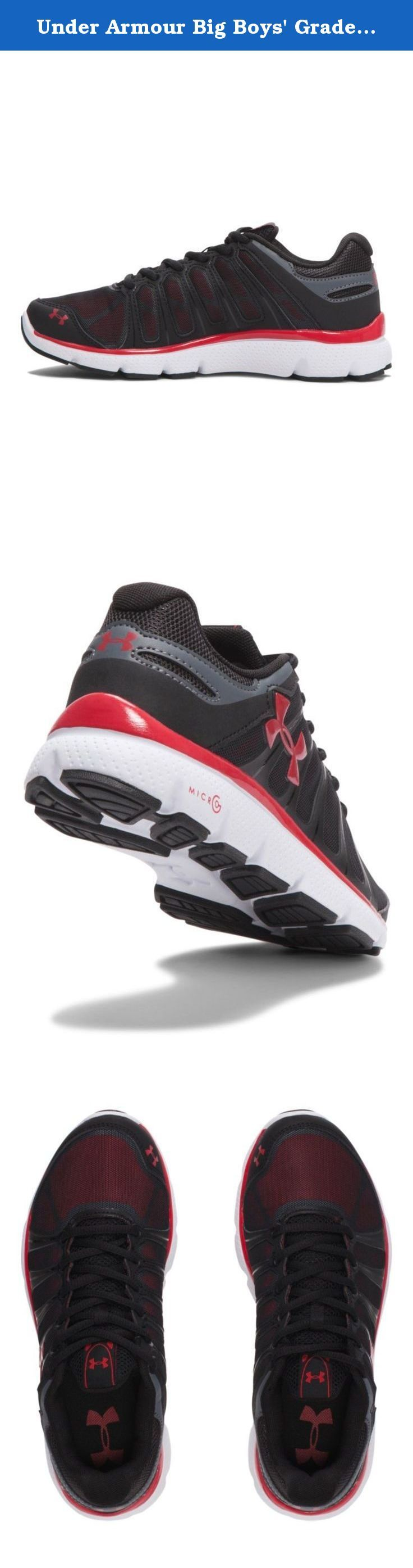 Under Armour Big Boys' Grade School UA Micro G Pulse II Running Shoes 6.5 Black. Non-marking rubber outsole covers high impact zones for greater durability with less weight.