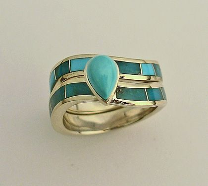 14 Karat Yellow Gold Wedding Ring Set With Natural Turquoise Inlay And A Center Stone