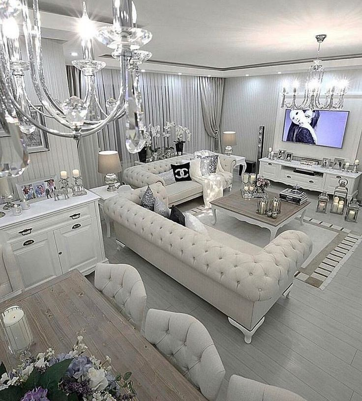 Best 25 glamorous living rooms ideas on pinterest - White and silver living room ...