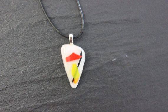White opaque glass fused pendant Red Yellow by GlassJewelleryByJ