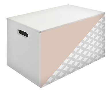 Baule con manici in legno corallo e bianco, 50x30x30 cm