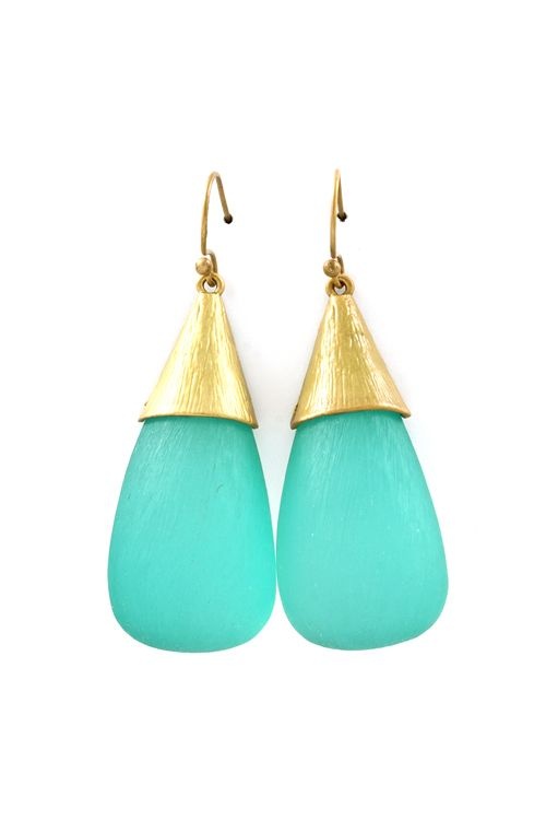 Turquoise Lucite Teardrop Earrings. These look like sea glass