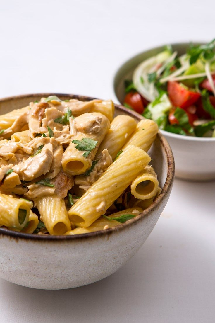 An easy tortiglioni chicken pasta recipe with a rich lemon sauce from chef Galton Blackiston. Served with a simple salad, this chicken pasta makes a great midweek meal.