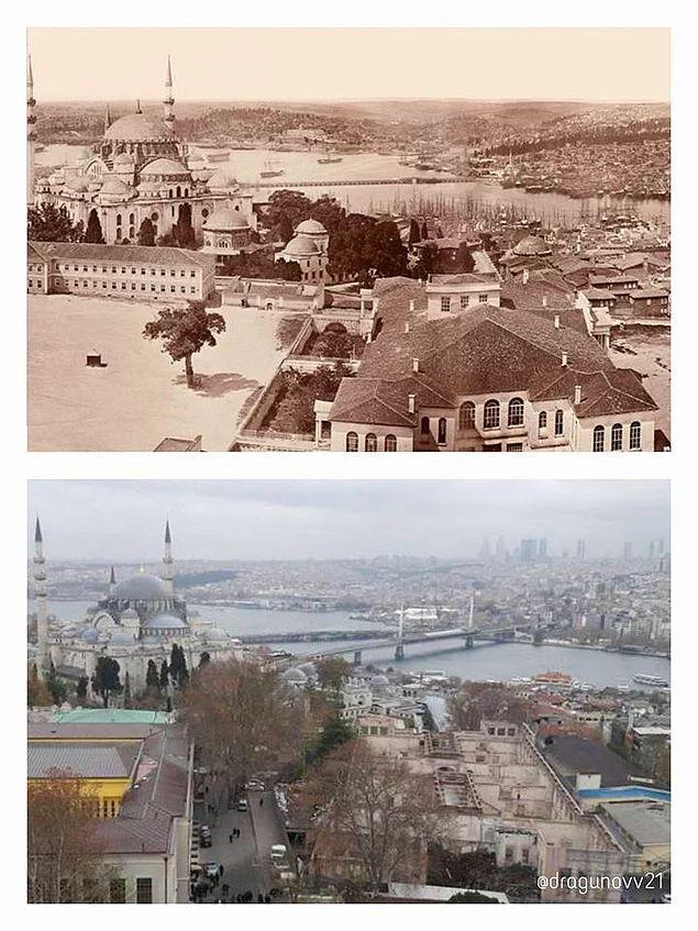 Yaklaşık 160 yıl önce ve şimdi Beyazıt Kulesi'nden Haliç'e bakış.