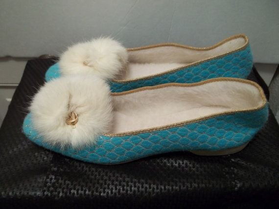 Vintage 1960's Blue and Gold Slippers with by MuddyRiverAntiques,