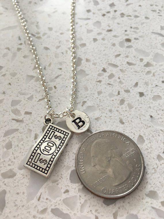 100 Dollar Bill initial jewelery, Dollar Bill jewelry, silver jewelery USD 100 jewelery Gift for teen boy, Dollar Bill Jewelry