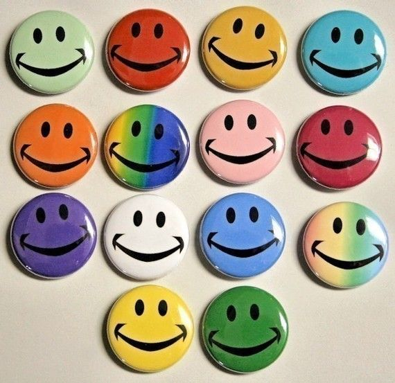 Colorful Happy Face Buttons Set of 14 Pins Badges 1 inch