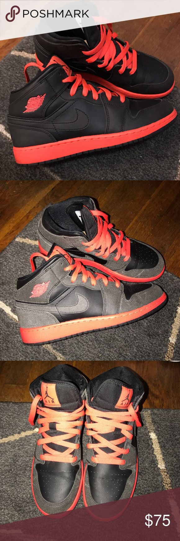 Jordan 1 black & red, size 5.5 Jordan 1 black and red. Size 5.5, worn 3 times, great condition! No box. Changes colors with flash. Nike Shoes Athletic Shoes