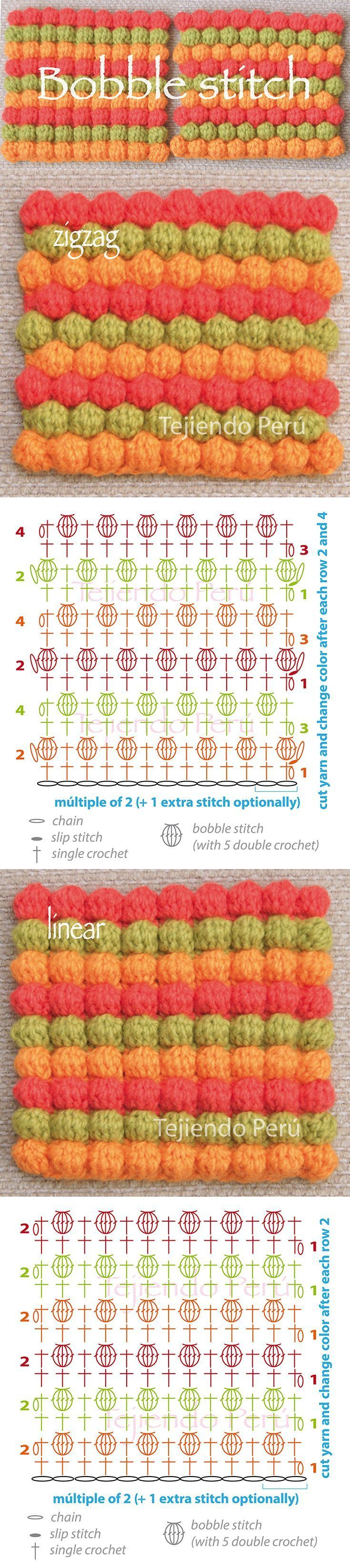 Crochet bobble stitch pattern: zigzag and linear! (diagram or chart):