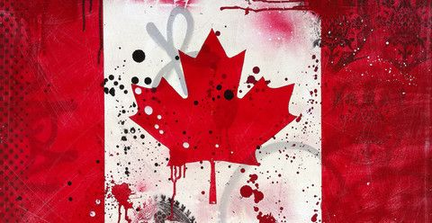 """Canada"" by Daniel Bombardier.  Mixed Media on Wood Panel."