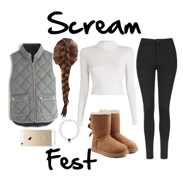 """Scream Fest"" by ice-blue22 ❤ liked on Polyvore featuring Topshop, A.L.C., J.Crew, UGG Australia, FingerPrint Jewellry and Everest"