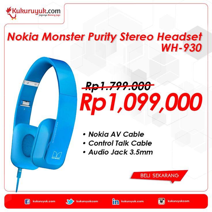 Headset ON, World OFF  Kuku Mania, apakah kamu termasuk orang yang enggak bisa enggak dengerin musik seharian? Khusus untuk kamu, Nokia Monster Purity Stereo Headset WH-930 - Biru - Grade A hadir menawarkan kualitas suara terbaik!  Yuk, cek di sini. >> http://kukuruyuk.com/nokia-monster-purity-stereo-headset-wh-930-biru-grade-a  #PromoJago