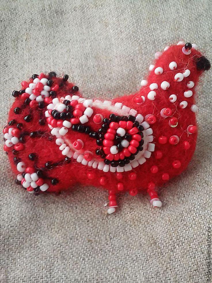 Купить Брошь птичка невеличка - ярко-красный, брошь войлочная, брошь, Испания