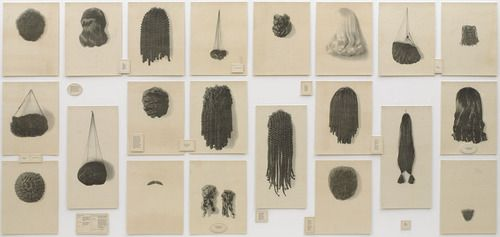 """Lorna """"Simpson """"Wigs (Portfolio)"""" 1994 #IdentityPolitics #CultureWars. Among the subjects of Simpson's art is the experience of African American women in contemporary American society, a topic that encompasses issues of race and gender. Depicted here is a diverse group of wigs in an orderly presentation that suggests a line-up of scientific specimens. Text panels with artist's commentary on their use by women, entertainers, transvestites."""