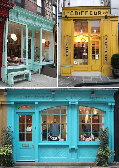 I love the old ornamental colored storefronts...it reminds me of the little christmas village of ceramic houses that my siblings and I painted with my mom when I was a kid.